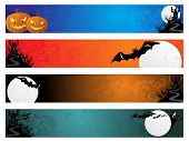 background with set of scary halloween banner