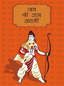 shri ram background with god rama holding arrow and bow