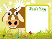 abstract garden background with comic cow, fools day banner