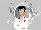abstract grey floral background with nurse, vector illustration