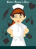 abstract medical supplies background with cute nurse