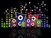 Fondo de colorido musical ecualizador gráfico con altavoz colorido, notas musicales