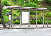 image of bus-shelter  - Blank billboard on bus stop - JPG