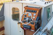 Helm Of A Boat, Vintage Wooden Navigation Panel With Steering Wheel poster