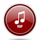 Rap music red glossy round web icon. Circle isolated internet button for webdesign and smartphone ap poster