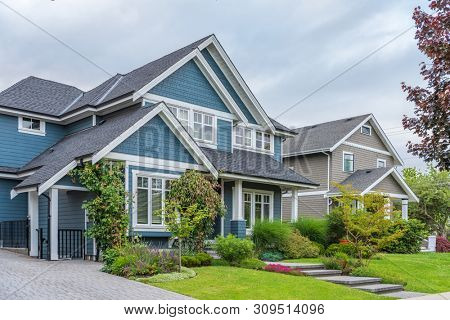 poster of Houses in suburb at Summer in the north America. Luxury houses with nice landscape.