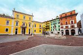 Piazza Del Mercato Or Market Square Is One Of The Main Squares Of Brescia City In North Italy poster