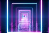 Abstract Flight In Space Through Glowing Neon Squares, Fluorescent Ultraviolet Light. 3d Illustratio poster