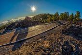 Fish Eye Lens Shot Of Sunset Time Above The Clouds In The Mountains. Fresh Lava Fields. Park Road Cr poster