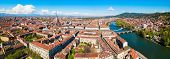 Turin City Aerial Panoramic View, Piedmont Region Of Italy poster
