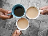 Cheers Coffee. Three Cups Of Coffee Hold By Hands. 3 Best Friends Making Cheers Coffee. Coffee Break poster