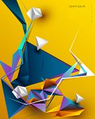 Vector Abstract 3d Geometric, Polygon Background Design. Multicolor, Blue, Purple, Yellow And Green  poster