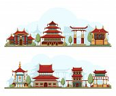 Japan Landscape. Traditional China Cultural Buildings Architecture Template Pagoda Palace Vector Bac poster