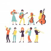 Big Flat Vector Set Group Of Musicians, Stringed Instruments: Violin, Contrabass, Cello And Guitar.  poster