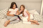 Children Read Book In Bed. Girls Best Friends Read Fairy Tale Before Sleep. Best Books For Kids. Rea poster