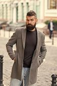 Man Bearded Hipster Casual Style Waiting For Taxi. Guy At Street City Center. Looking For Transporta poster