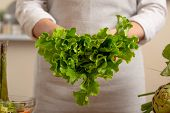 The Chef Is Holding A Green Lettuce In The Form Of A Heart. The Concept Of Losing Healthy And Wholes poster