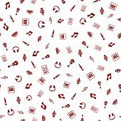 Music Themed Freehand Drawings Seamless Pattern. Hand Drawn Music Elements Doodles Design For Wallpa poster