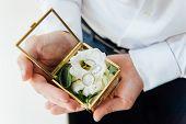 Groom Holding Wedding Rings In Box, The Groom Hold Rings, Wedding Ring In Groom Hand. Engagement poster