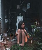 Girl Is Being Terrified By Malicious Evil Who Living In A Haunted House,3d Rendering poster