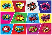 Pop Art Comic Speech Cartoon Bubbles In Popart Style With Humor Text Boom Or Bang Bubbling Expressio poster