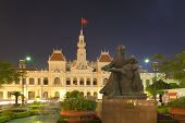 People´s Committee building at night in Ho Chi Minh City, Vietnam