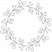 Doodle Illustration. Hand Drawn Frame. Vintage Set Of Doodle Wreath. Great Design For Any Purposes.  poster