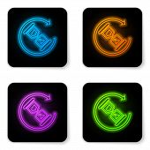 Glowing Neon Waiting Icon Isolated On White Background. Wait Time Icon. Hourglass Clock. Black Squar poster