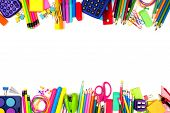 School Supplies Double Border. Top View Isolated On A White Background With Copy Space. Back To Scho poster