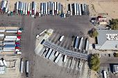 image of 18 wheeler  - Aerial view of truck stop and weight station - JPG