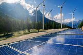 Solar Panel And Wind Turbine Farm Clean Energy. poster