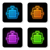 Glowing Neon Pet Carry Case Icon Isolated On White Background. Carrier For Animals, Dog And Cat. Con poster