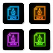 Glowing Neon Eps File Document Icon. Download Eps Button Icon Isolated On White Background. Eps File poster