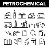 Petrochemical Industry Vector Thin Line Icons Set. Petrochemical Product, Oil, Petroleum Production  poster