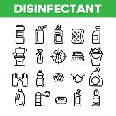 Disinfectant, Antibacterial Substance Vector Thin Line Icons Set. Disinfectant, Sanitation And Hygie poster