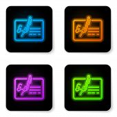 Glowing Neon Signed Document Line Icon Isolated On White Background. Pen Signing A Contract With Sig poster