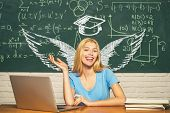 Student Angel. School Wings And Dream. Student Preparing For College Exams. Student. Educational Pro poster