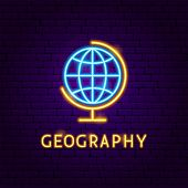 Geography Neon Label. Vector Illustration Of Education Promotion. poster