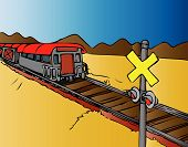 stock photo of train track  - A train approaches a crossing on the track - JPG