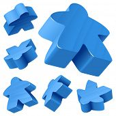 Blue wooden Meeple vector set isolated on white. Symbol of family board games.