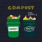 Two Green Composting Bins With Kitchen Scraps. Flat Style Pair Of Trash Cans With Organic Waste And  poster