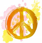 Peace Hippie Symbol Over Colorful Background. Freedom, Spirituality, Occultism, Textiles Art. Vector poster