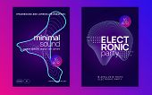 Abstract Music. Futuristic Show Brochure Set. Dynamic Fluid Shape And Line. Abstract Music Flyer. Te poster