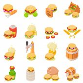Beer Evening Icons Set. Isometric Set Of 16 Beer Evening Vector Icons For Web Isolated On White Back poster