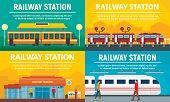 Railway Station Banner Set. Flat Illustration Of Railway Station Vector Banner Set For Web Design poster
