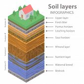 Soil Ground Infographic. Isometric Of Soil Ground Vector Infographic For Web Design poster