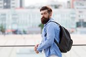 Backpack For Travelling And City Life. Hipster Wearing Backpack In Casual Style On Urban Outdoor. Be poster