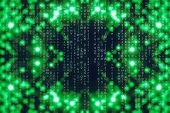 Green Blue Matrix Digital Background. Abstract Cyberspace Concept. Characters Fall Down. Matrix From poster