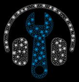 Flare Mesh Headphones Tuning Wrench With Sparkle Effect. Abstract Illuminated Model Of Headphones Tu poster