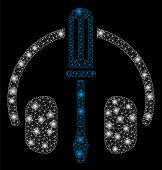 Glossy Mesh Headphones Tuning Screwdriver With Glitter Effect. Abstract Illuminated Model Of Headpho poster